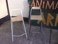2 Folding Stools with foot Rests Shabby Chic Project Delivery Available