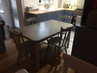 Dining table and 4 chairs - Grey Shabby Chic
