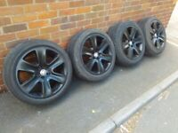 """Genuine OEM Jaguar XF 18"""" 5x108 alloy wheels + runflat tyres Volvo XJ X type XE DELIVERY AVAILABLE"""
