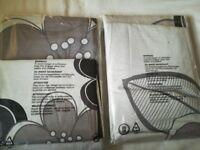 2 Grey, purple and black single duvet covers.