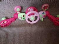 Pink pram stearing wheel toy