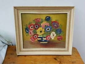 Original Mid-Centry Flower Oil Painting