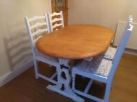 Shabby Chic Oak Country Dining Table & 4 Chairs - Extendable - Farrow & Ball