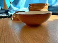 6 Denby Pottery soup / cereal bowls - brown / cream