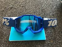 100% blue tinted motocross goggles