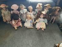Group of 10 porcelain dolls