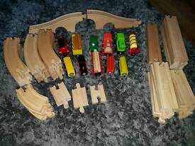 Wooden trains and track