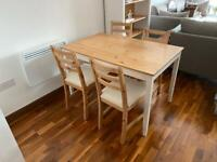 IKEA Dining Table with 4 Chairs White and Natural Wood Colour