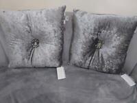 Silver crushed velvet cushions