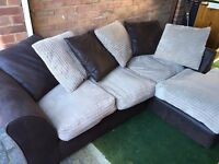 Nearly new corner sofa for sale- excellent condition. Brown and cream. Can deliver if required