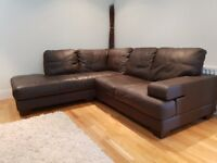 Corner sofa and chair leather - excellent condition rarely used.