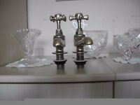 Pair Brass Bath Taps