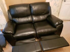 2 seater black leather recliner for sale