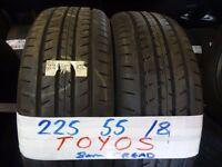MATCHING SET 225 55 18 TOYOS 8MM TREAD £80 PAIR £150 SET SUPP & FITD £150 SET (loads more av}