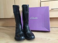 Clarks Black Patent Girls Winter Boots