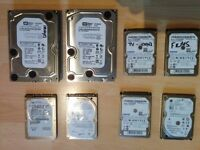 For sale - 8 Hard Drives - Samsung, Seagate, Hitachi, Western Digital,