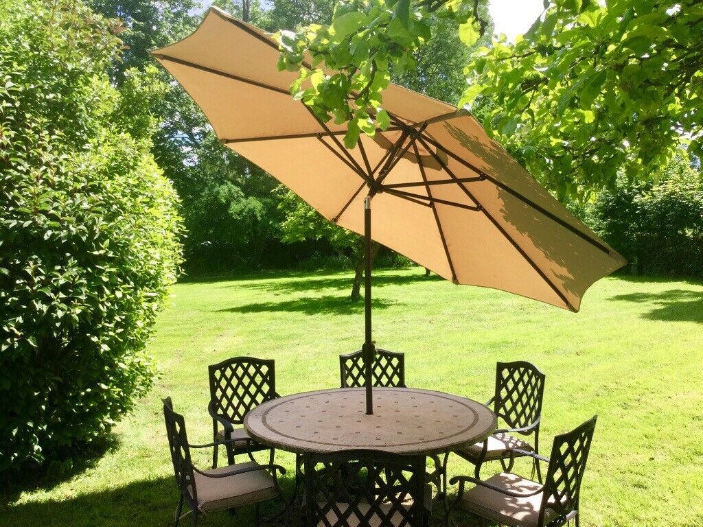 All Weather Stone Mosaic Table 6 Bronze Effect Cast Aluminium Chairs 3m Angled Parasol