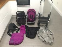 Oyster Pram, pebble car seat, buggy board and accessories