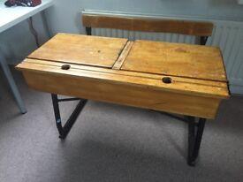 Vintage authentic school desks
