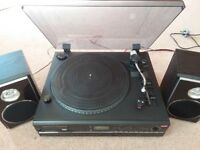 Record Player with CD Recorder, Radio and Cassette - Professional Style Belt Drive Turntable