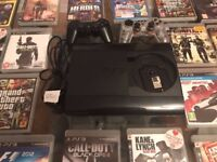 PS3 slim edition, 2 Controllers, 28 games, 500GB, Comes with original box, perfect condition.