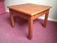 Low, small solid oak table