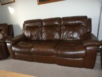 Brown Leather Three Piece Suite (Recliners)
