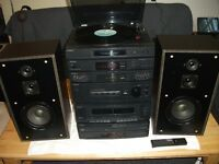 SONY LBT-D 159 STEREO SYSTEM + SPEAKERS , REMOTE , TURNTABLE.