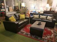 Stunning dark brown leather 3 and 2 seater sofas (quality sofas and suites)