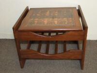 STYLISH RETRO VINTAGE 1970'S TEAK & COPPER COFFEE TABLE FREE DELIVERY IN THE GLASGOW AREA
