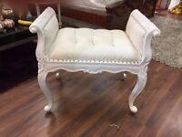 Rococo Solid Wood stool in Cream PU With Cream wood finish (Ex Display)