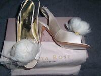 Freya Rose Designer Leather Cream Heels Size 4 BNIB