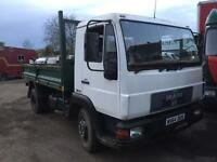 1995 M Reg man 8163 7.5ton tipper truck ideal export runs and drives and tips good