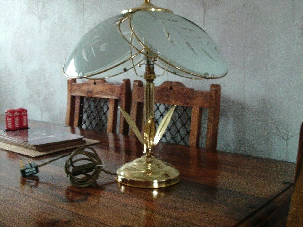 Brass table lamp very ornate large brass and glass shade brass table lamp very ornate large brass and glass shade immaculate conditionduced in wallsend tyne and wear gumtree aloadofball Gallery
