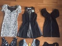 Bunch of Lipsy, ASOS, Motel Rocks dresses some nwt, River Island top & black peep toe shoes size 4