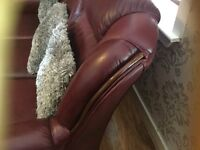 burgndy real leather sofa chair stool with wooden trim 9 months old
