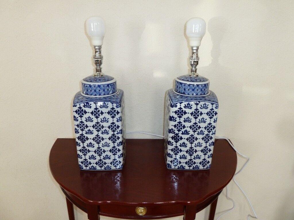 Pair Of John Lewis Beth Ceramic Lamp Base Blue White In Poole Dorset Gumtree