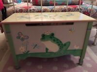 Wooden hand painted toy box
