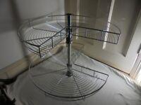 Maple Industries Chrome `Lazy Susan` 2 Shelf 270degree rotating shelves