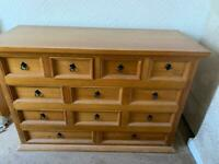 Solid pine chest of 12 drawers