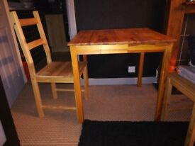 Wooden small square table and 2 chairs