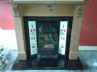 Victorian/Edwardian-style cast iron tiled fireplace, never used for fire, pine surround