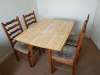 Table ( folding ) & 4 Chairs