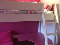 Girls stompa cabin bed with desk and chair/spare bed