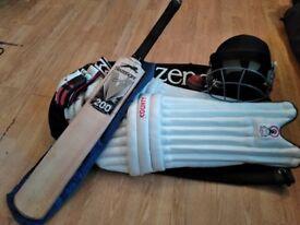 Full Cricket Set, Good Quality Gear - Slazenger, Gunn & Moore, Hunts County