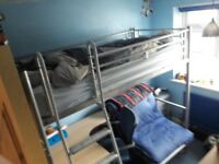 Single bunk bed with desk & futon underneath
