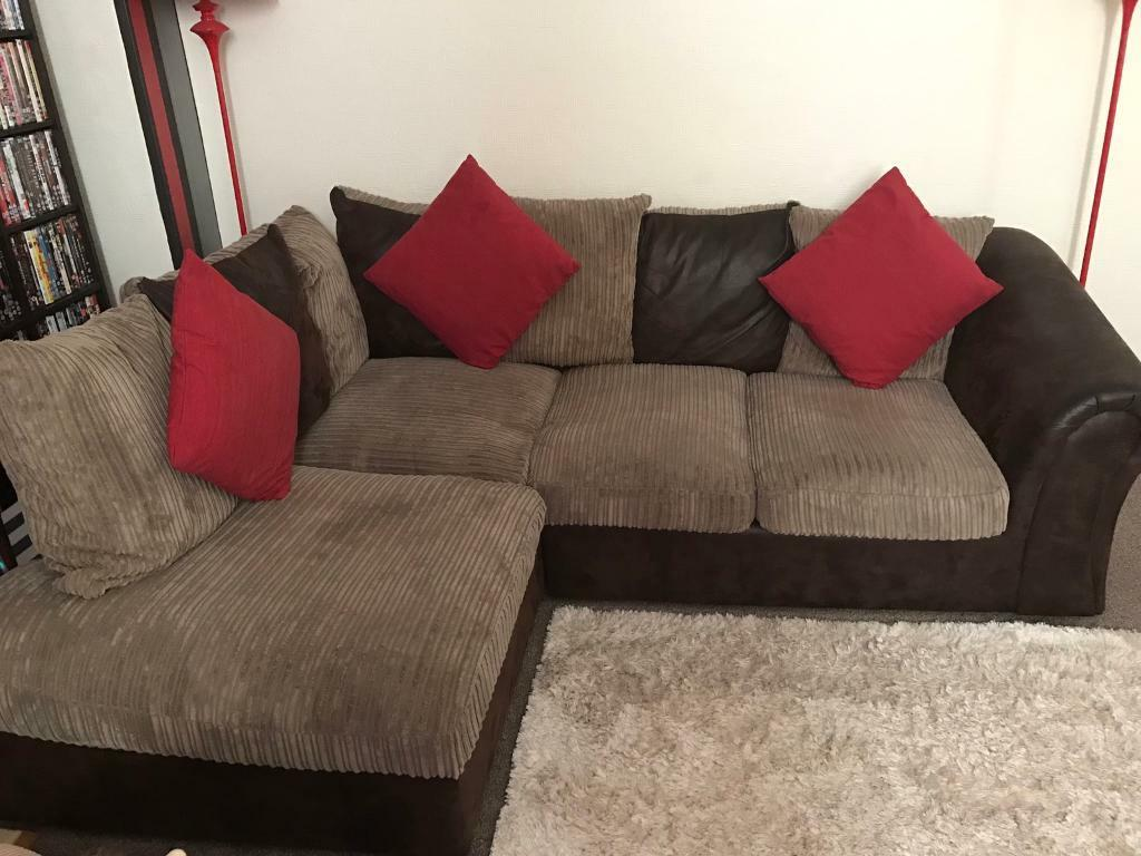 Chocolate Brown L Shape Sofa And 2 Seater