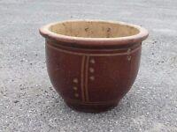 Brown Glazed Ceramic Garden Planter Plant Pot 16cm Tall