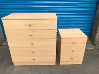 STUNNING PINE WOOD FIVE DRAWER CHEST WITH MATCHING BEDSIDES