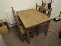 Wooden Dining Table Sturdy and 4 Chairs